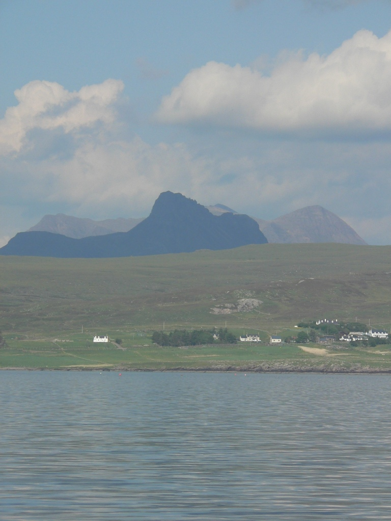 The view from Tanera Mhor, across to Achiltibuie with Stac Pollaidh behind