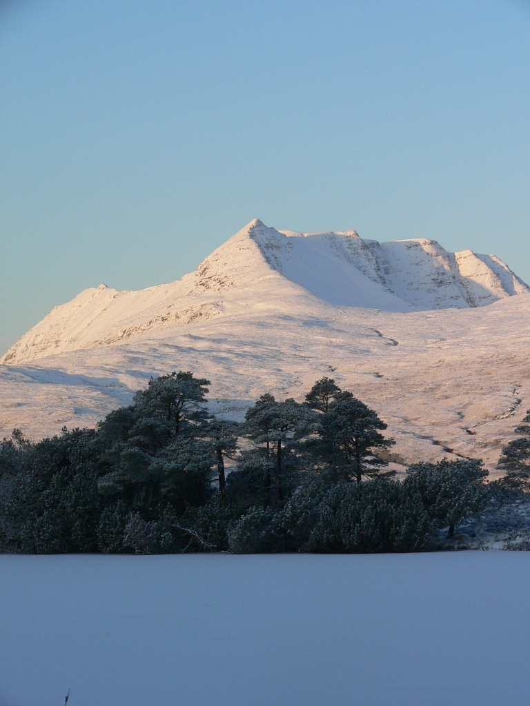 Ben Mor Coigach on a crisp winter's morning.